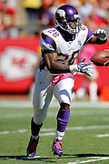 Minnesota Vikings running back Adrian Peterson (28) takes a first quarter handoff during the NFL week 4 football game against the Kansas City Chiefs on Sunday, October 2, 2011 in Kansas City, Missouri. The Chiefs won the game 22-17. ©Paul Anthony Spinelli