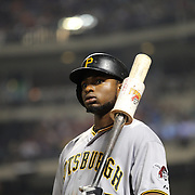 Gregory Polanco,  Pittsburgh Pirates, prepares to bat during the New York Mets Vs Pittsburgh Pirates MLB regular season baseball game at Citi Field, Queens, New York. USA. 16th August 2015. Photo Tim Clayton