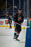 KELOWNA, CANADA - OCTOBER 4: Konrad Belcourt #5 of the Kelowna Rockets exits the ice after warm up against the Victoria Royals on October 4, 2017 at Prospera Place in Kelowna, British Columbia, Canada.  (Photo by Marissa Baecker/Shoot the Breeze)  *** Local Caption ***