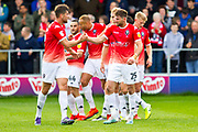 Salford City forward Adam Rooney celebrate his goal with team-mates during the EFL Sky Bet League 2 match between Salford City and Cambridge United at Moor Lane, Salford, United Kingdom on 12 October 2019.