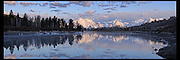 Panoramic Vista images in Grand Teton National Park, featuring Mt. Moran. Sunrise pano of one of the world's premiere parks. Aspen and spruce stands of trees accent the landscape.