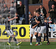 Greg Stewart is congratulated after scoring by David Clarkson, Martin Boyle, and Paul McGowan - Dundee v Hamilton, SPFL Premiership at Dens Park<br /> <br />  - &copy; David Young - www.davidyoungphoto.co.uk - email: davidyoungphoto@gmail.com