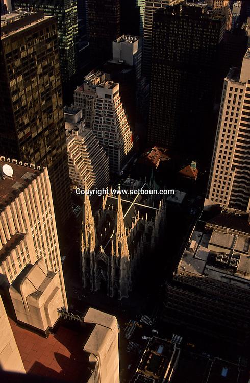 New York. midtown . elevated view. Saint Patrick cathedral , Panoramic view on Manhattan midtown /  la cathedrale Saint patrick, vue panoramique sur Manhattan midtown  New York  USa