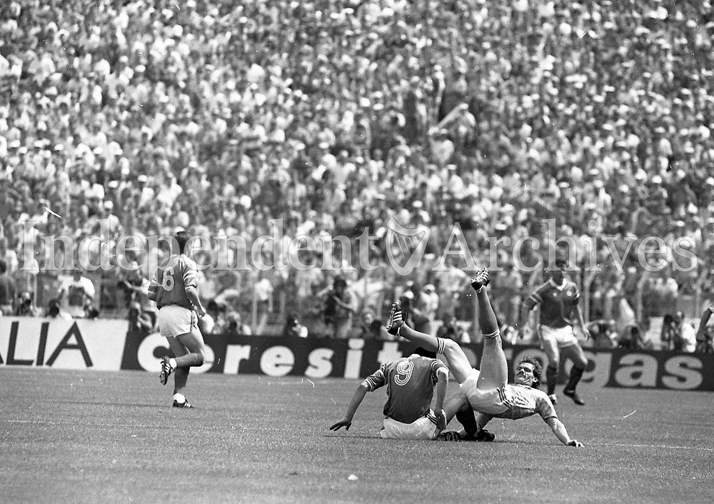 Action during the Ireland v Holland match at Euro '88. (Part of the Independent Newspapers Ireland/NLI Collection)