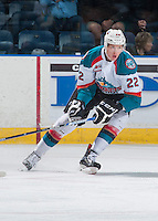 KELOWNA, CANADA - SEPTEMBER 3: Braydyn Chizen #22 of Kelowna Rockets skates against the Victoria Royals on September 3, 2016 at Prospera Place in Kelowna, British Columbia, Canada.  (Photo by Marissa Baecker/Shoot the Breeze)  *** Local Caption *** Braydyn Chizen;