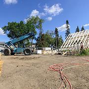 Canada, Edmonton. July/30/2013. McKernan Community League building renovation project. Roof framing and ibeam construction.