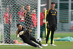 June 14, 2018 - Moscow, RUSSIA - Belgium's goalkeeper Koen Casteels and Belgium's goalkeeper Thibaut Courtois pictured during a training session of Belgian national soccer team the Red Devils in Moscow, Russia, Thursday 14 June 2018. The team is preparing for their first game at the FIFA World Cup 2018 next Monday. BELGA PHOTO BRUNO FAHY (Credit Image: © Bruno Fahy/Belga via ZUMA Press)