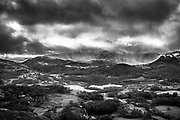 Landscape, Langdale fells, from Silver Howe, winter clouds, Cumbria, Lake District,