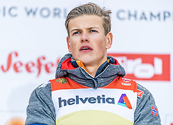 21.02.2019, Langlauf Arena, Seefeld, AUT, FIS Weltmeisterschaften Ski Nordisch, Seefeld 2019, Langlauf, Herren, Sprint, im Bild Weltmeister und Goldmedaillengewinner Johannes Hoesflot Klaebo (NOR) // World champion and Gold medalist Johannes Hoesflot Klaebo of Norway during the men's Sprint competition of the FIS Nordic Ski World Championships 2019. Langlauf Arena in Seefeld, Austria on 2019/02/21. EXPA Pictures © 2019, PhotoCredit: EXPA/ Stefan Adelsberger