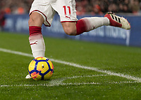 Football - 2017 / 2018 Premier League - Arsenal vs. Everton<br /> <br /> Controversy over the second goal as Mesut Ozil (Arsenal FC) places the ball outside of the corner area at The Emirates.<br /> <br /> COLORSPORT/DANIEL BEARHAM