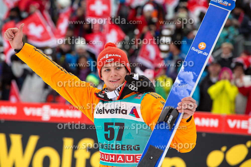 22.12.2013, Gross Titlis Schanze, Engelberg, SUI, FIS Weltcup Ski Sprung, Engelberg, Herren, im Bild Andreas Wellinger (GER) // during mens FIS Ski Jumping world cup at the Gross Titlis Schanze in Engelberg, Switzerland on 2013/12/22. EXPA Pictures &copy; 2013, PhotoCredit: EXPA/ Eibner-Pressefoto/ Socher<br /> <br /> *****ATTENTION - OUT of GER*****