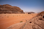 Red sand Desert Landscape. Photographed in Wadi Rum, Jordan in April