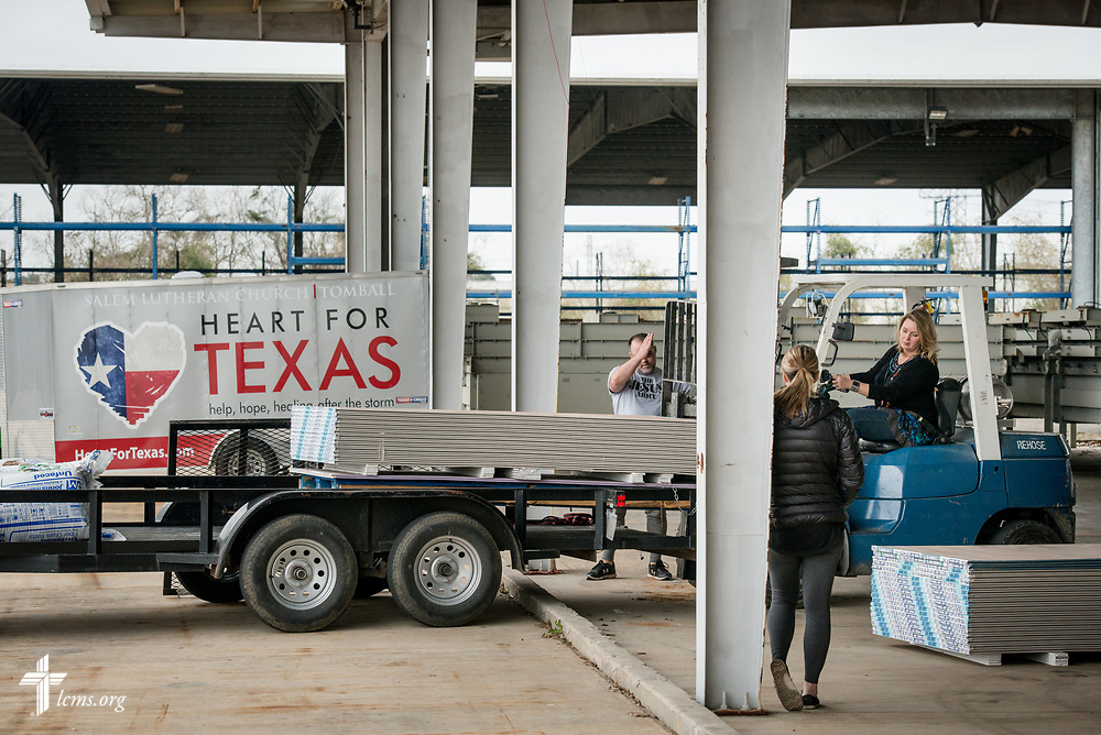 Laurie Holleway from Salem Lutheran Church, Tomball, Texas, loads a pallet of gypsum board destined for a flood-damaged home at a warehouse in Tomball, Texas, on Thursday, Feb. 8, 2018, in Tomball. The warehouse, which serves as a collection point for LCMS congregations with the main users being Salem Lutheran Church, Tomball, Texas, and Trinity Klein Lutheran Church, Spring, Texas, houses donated items for use in rebuilding homes and helping victims after Hurricane Harvey devastated parts of Texas almost six months ago. LCMS Communications/Erik M. Lunsford