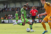 Forest Green Rovers Dominic Bernard(3) shoots at goal during the EFL Sky Bet League 2 match between Forest Green Rovers and Newport County at the New Lawn, Forest Green, United Kingdom on 31 August 2019.