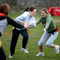 Evelyn O'Connor  in action at the Training session at Ennis Rugby Grounds for the Tag Rugby league which will begin on 23rd May.<br /><br />Photograph by Eamon Ward