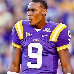 October 16, 2010; Baton Rouge, LA, USA; LSU Tigers quarterback Jordan Jefferson (9) during a game at Tiger Stadium. LSU defeated McNeese State 32-10. Mandatory Credit: Derick E. Hingle