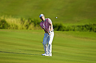 January 11 2015:  Russell Henley chips on number eighteen during the Third Round of the Hyundai Tournament of Champions at Kapalua Plantation Course on Maui, HI.