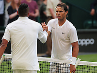 Tennis - 2019 Wimbledon Championships - Week One, Thursday (Day four)<br /> <br /> Men's singles, 2nd Round Nick Kyrios (AUS) v Rafael Nadal (ESP)<br /> <br /> Rafael Nadal shakes hands with Kyrios at the net after winning the match on Centre Court <br /> <br /> COLORSPORT/ANDREW COWIE
