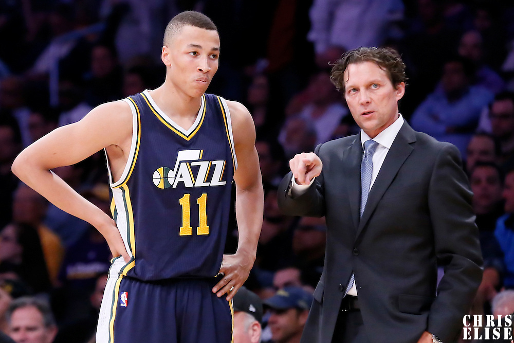 19 March 2015: Utah Jazz head coach Quin Snyder talks to Utah Jazz guard Dante Exum (11) during the Utah Jazz 80-73 victory over the Los Angeles Lakers, at the Staples Center, Los Angeles, California, USA.