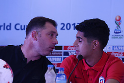 October 7, 2017 - Kolkata, West Bengal, India - Chile football team coach Hernan Caputto (left) and player Antonio Diaz (right) during a press conference ahead of FIFA U 17 World Cup on October 7, 2017 in Kolkata. (Credit Image: © Saikat Paul/Pacific Press via ZUMA Wire)