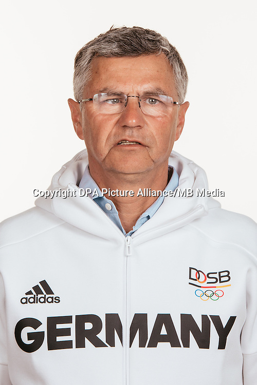 Otto Becker poses at a photocall during the preparations for the Olympic Games in Rio at the Emmich Cambrai Barracks in Hanover, Germany, taken on 18/07/16 | usage worldwide