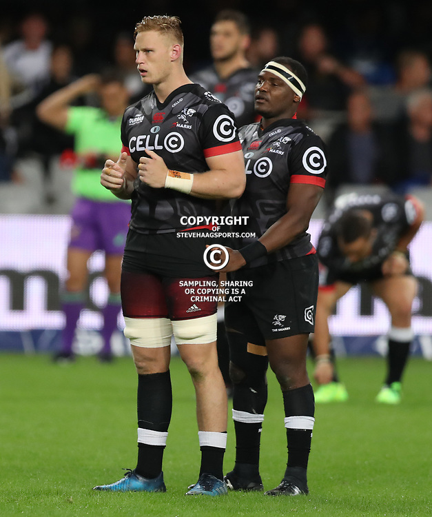 DURBAN, SOUTH AFRICA - MAY 27: Jean-Luc du Preez with Chiliboy Ralepelle of the Cell C Sharks during the Super Rugby match between Cell C Sharks and DHL Stormers at Growthpoint Kings Park on May 27, 2017 in Durban, South Africa. (Photo by Steve Haag/Gallo Images)