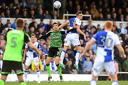 Billy Bodin of Bristol Rovers challenges for a header with Gary Sawyer of Plymouth Argyle - Mandatory by-line: Dougie Allward/JMP - 30/09/2017 - FOOTBALL - Memorial Stadium - Bristol, England - Bristol Rovers v Plymouth Argyle - Sky Bet League One