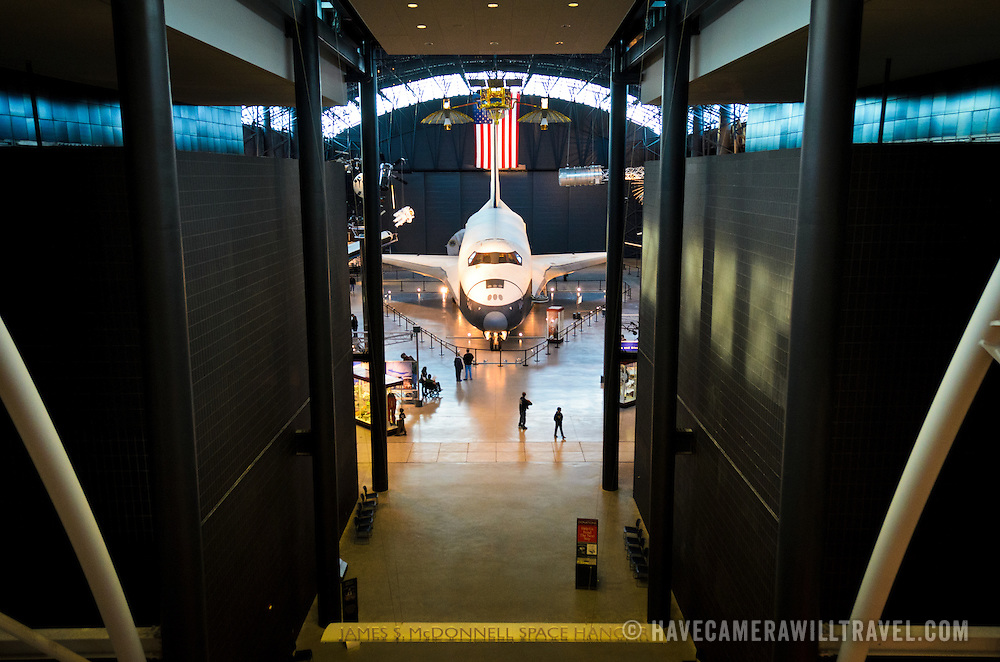 The space shuttle Enterprise on display at the Smithsonian National Air and Space Museum's Udvar-Hazy Center, a large hangar facility at Chantilly, Virginia, next to Dulles Airport and just outside Washington DC.
