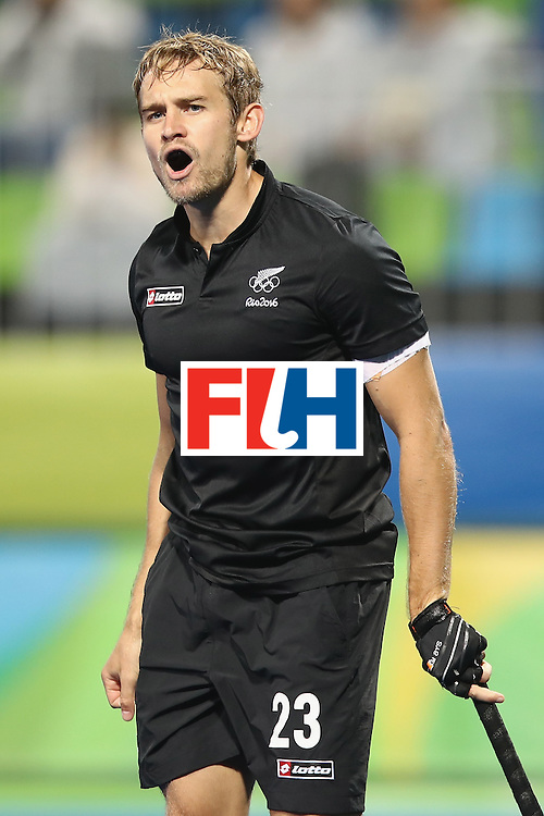 RIO DE JANEIRO, BRAZIL - AUGUST 10:  Shay Neal of New Zealand celebrates scoring a goal during the men's pool A match between New Zealand and Brazil on Day 5 of the Rio 2016 Olympic Games at the Olympic Hockey Centre on August 10, 2016 in Rio de Janeiro, Brazil.  (Photo by Mark Kolbe/Getty Images)