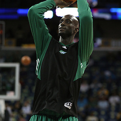02 February 2009:  Boston Celtics forward Kevin Garnett shoots during pregame warm ups prior to tipoff of an NBA game between the Boston Celtics and the New Orleans Hornets at the New Orleans Arena in New Orleans, LA.