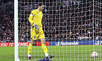 Photo: Paul Thomas/Sportsbeat Images.<br /> England v Croatia. UEFA European Championships Qualifying. 21/11/2007.<br /> <br /> England keeper Scott Carson picks the ball out of his net.