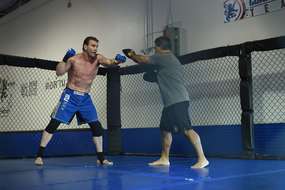 Ken Shamrock trains in Dallas, Texas on February 5, 2016.