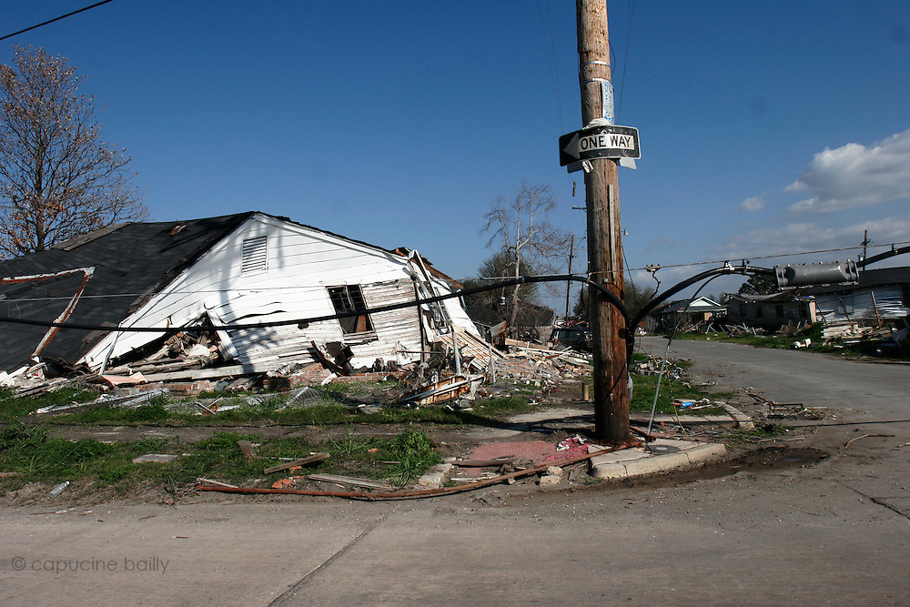 New Orleans, Louisiana. United States. March 2nd 2006..Very close to where the levee broke, the Lower 9th Ward is one of the most devastated neighborhoods by hurricane Katrina . At 200 miles/hour, the water destroyed everything that was on its way. Six months later, the area has almost not changed. Some people try to clean up but some didn't come back to their house at all.