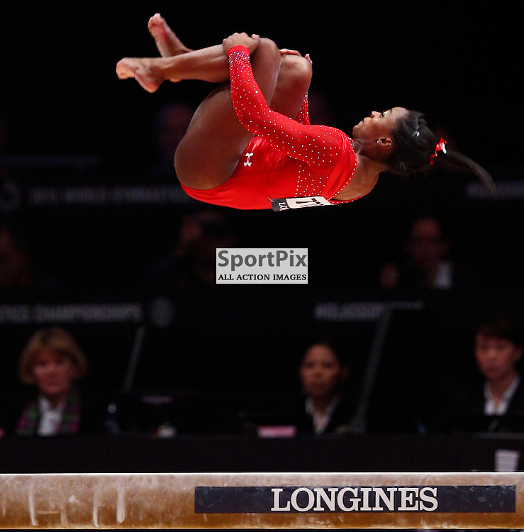 2015 Artistic Gymnastics World Championships being held in Glasgow from 23rd October to 1st November 2015.....Simone Biles (USA) performs on the Balance Beam in the Women's All-Round Final...(c) STEPHEN LAWSON | SportPix.org.uk