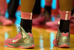12 February 2012:  Redbirds wear pink Nikes during an NCAA women's basketball game Where the Bradley Braves lost to the Illinois Sate Redbirds 82-63.  It was Play 4Kay day in honor of the cancer research fund set up by Coach Kay Yow at Redbird Arena in Normal IL This image available for EDITORIAL USE ONLY. A release may be required. Additional information by contacting alook at alanlook.com