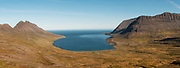 Panoramic of Veidileysa fjord in Northern Iceland