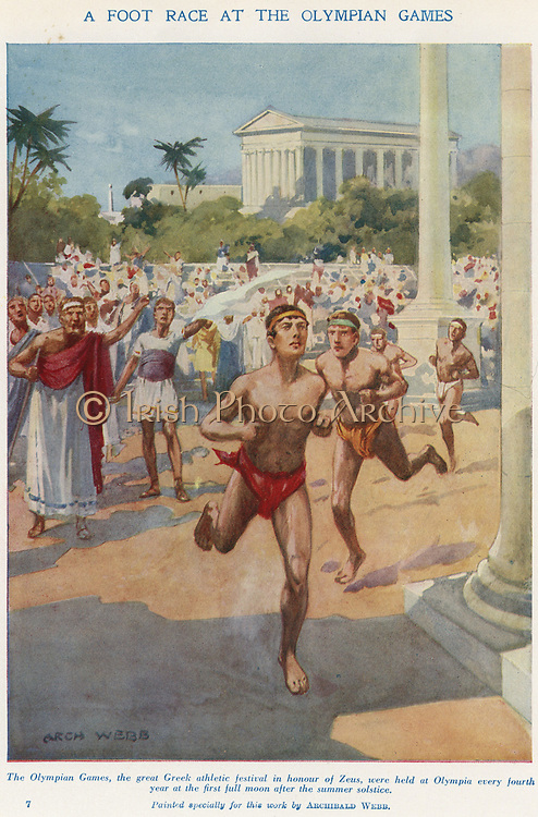 Ancient Olympic Games held in the honour of Zeus.   Runners competing in a foot race. Early 20th century illustration.