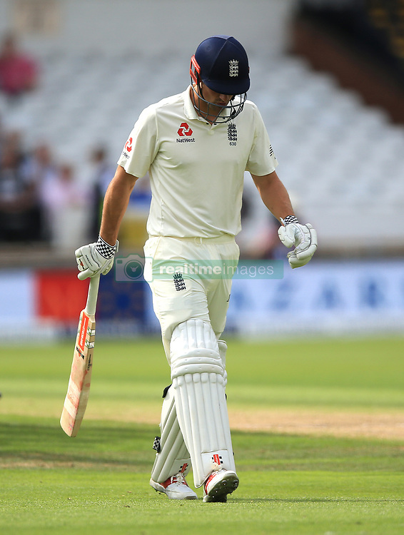 England's Alastair Cook walks off after losing his wicket during the second Investec Test match at Headingley, Leeds.