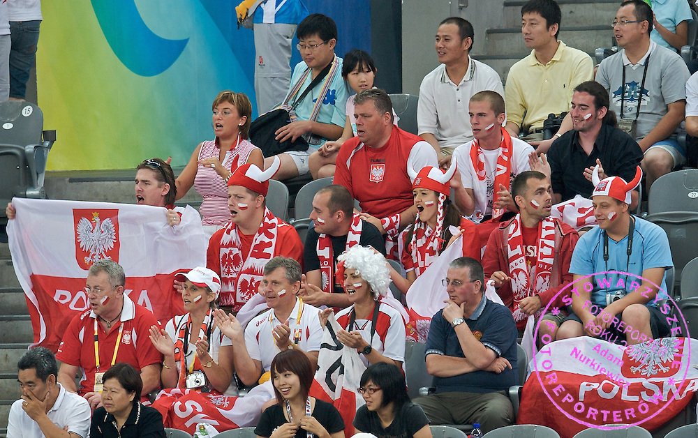 POLISH SUPPORTERS DURING MATCH POLAND VS RUSSIA PLACEMENT 5-6 MATCH AT MEN'S HANDBALL OLYMPIC TOURNAMENT DURING THE BEIJING 2008 SUMMMER OLYMPIC GAMES IN BEIJING, CHINA.. .CHINA , BEIJING , AUGUST 24, 2008..( PHOTO BY ADAM NURKIEWICZ / MEDIASPORT )..PICTURE ALSO AVAIBLE IN RAW OR TIFF FORMAT ON SPECIAL REQUEST.