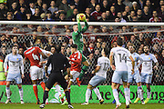 Aston Villa goalkeeper, on loan from Manchester United, Sam Johnstone (34) makes a save during the EFL Sky Bet Championship match between Nottingham Forest and Aston Villa at the City Ground, Nottingham, England on 4 February 2017. Photo by Jon Hobley.