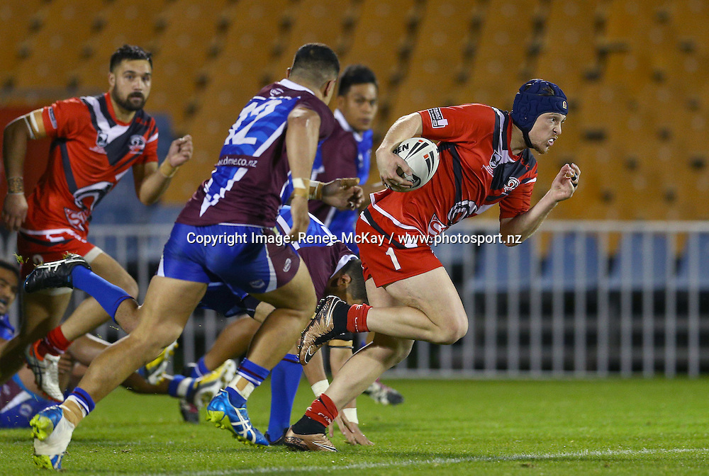 Counties fullback James Dowie makes a break at the NZRL national premiership match between Akarana Falcons vs Counties Manukau Stingrays, at Mt Smart stadium, Auckland, 16 September 2016. Copyright Image: Renee McKay / www.photosport.nz