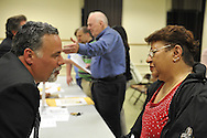 After Nassau County Coalition of Civic Associations installs Board Directors, on Tuesday, April 17, 2012, at Lido Beach, New York, USA, concerns such as the County's proposal to lease sewage treatment plants, and legislature redistricting, are discussed. Executive Director Phil Franco (left) and Martha Botero (right), the Treasurer of the Long Beach Latino Civic Association, discussed environmental concerns after the meeting. The non-partisan group believes transparency and public oversight are necessary to protect residents. Executive Directors to the Board present were these civic leaders: George Pombar of Glen Head, Phil Healey; Patrice Benneward of Glenwood Landing, Raymond Pagano of Oceanside, Claudia Borecky of North Merrick, Phil Franco of Seaford, and Greg Naham of Lido Beach.