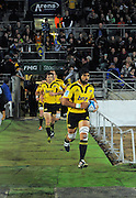 Victor Vito leads the Hurricanes out. Super 15 rugby union match - Hurricanes v Force at FMG Stadium, Palmerston North, New Zealand on Friday, 27 May 2011. Photo: Dave Lintott / photosport.co.nz