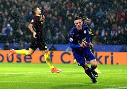 Jamie Vardy of Leicester City celebrates scoring a goal to make it 3-0 - Mandatory by-line: Robbie Stephenson/JMP - 10/12/2016 - FOOTBALL - King Power Stadium - Leicester, England - Leicester City v Manchester City - Premier League