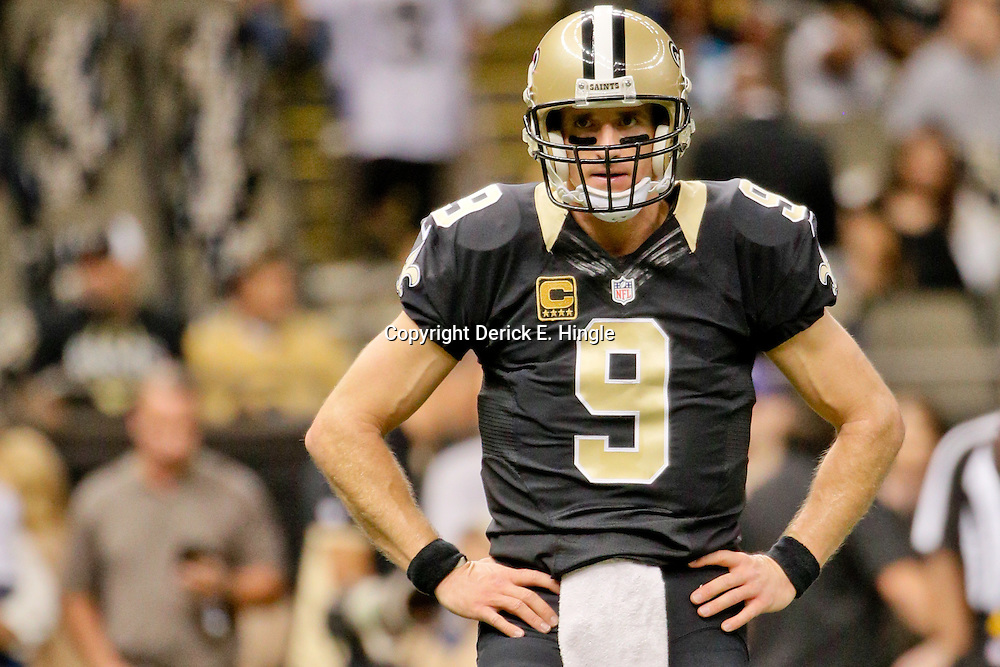 Dec 6, 2015; New Orleans, LA, USA; New Orleans Saints quarterback Drew Brees (9) prior to a game against the Carolina Panthers at Mercedes-Benz Superdome. Mandatory Credit: Derick E. Hingle-USA TODAY Sports
