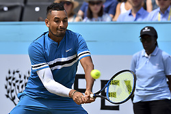 June 23, 2018 - London, England, United Kingdom - Nick Kyrgios of Australia returns during the semi final singles match on day six of Fever Tree Championships at Queen's Club, London on June 23, 2018. (Credit Image: © Alberto Pezzali/NurPhoto via ZUMA Press)