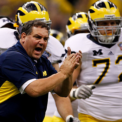 January 3, 2012; New Orleans, LA, USA; Michigan Wolverines head coach Brady Hoke reacts from the sideline during the second quarter of the Sugar Bowl against the Virginia Tech Hokies at the Mercedes-Benz Superdome.  Mandatory Credit: Derick E. Hingle-US PRESSWIRE
