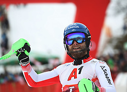 26.01.2020, Streif, Kitzbühel, AUT, FIS Weltcup Ski Alpin, Slalom, Herren, 2. Lauf, im Bild Marco Schwarz (AUT) // reacts after his 2nd run in the men's Slalom of FIS Ski Alpine World Cup at the Streif in Kitzbühel, Austria on 2020/01/26. EXPA Pictures © 2020, PhotoCredit: EXPA/ SM<br /> <br /> *****ATTENTION - OUT of GER*****