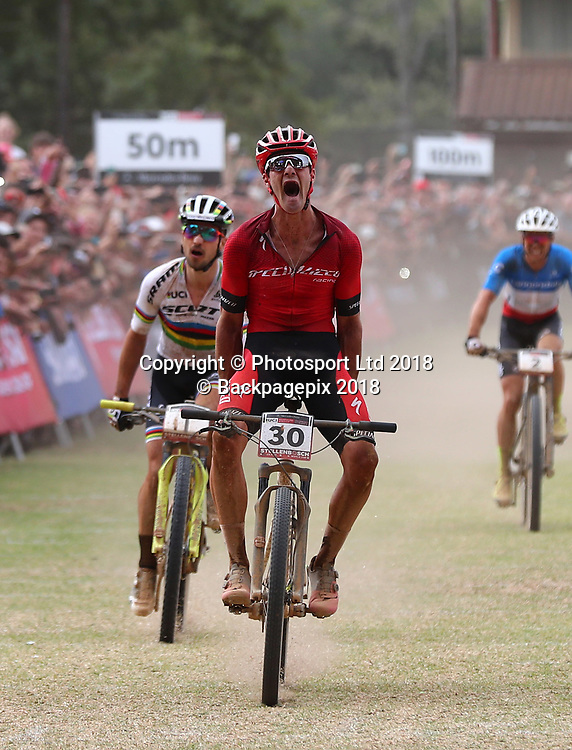 Samuel Gaze (NZL) (c) wins as Nino Schurter (SUI) (l) finishes second and Maxime Marotte (FRA) (r) finishes in third during the 2018 UCI Mountain Bike World Cup Mens Elite race in Coetzenburg, Stellenbosch on 10 March 2018 ©Chris Ricco/BackpagePix / www.photosport.nz