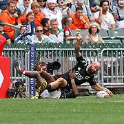All Black Samoan, DJ Forbes, scores New Zealand's only try in their 5-0 victory over Kenya at Hong Kong 7's day two, Hong Kong Stadium, Happy Valley, Hong Kong Island, China.   Photo by Barry Markowitz, 4/9/16